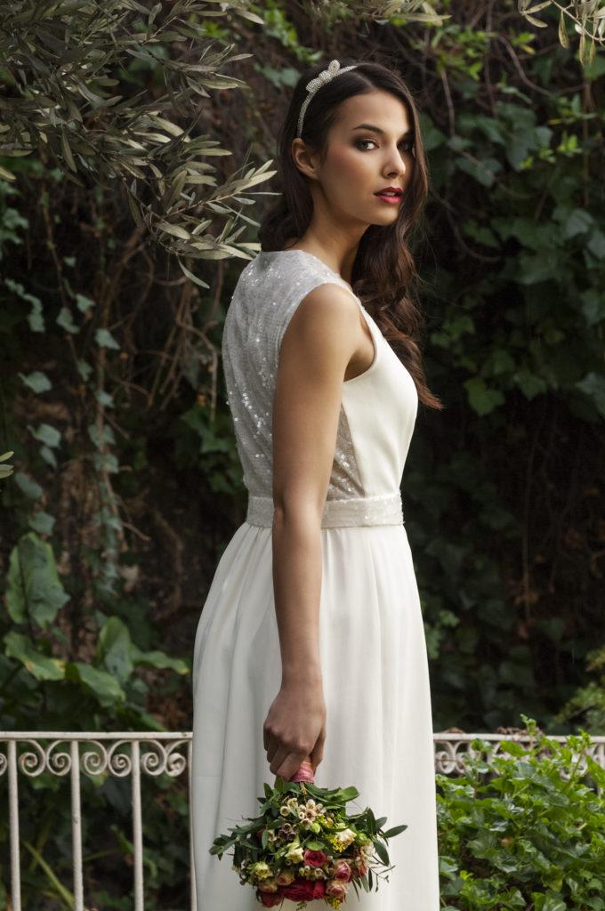 Novia boda ramo flor prensada vestido